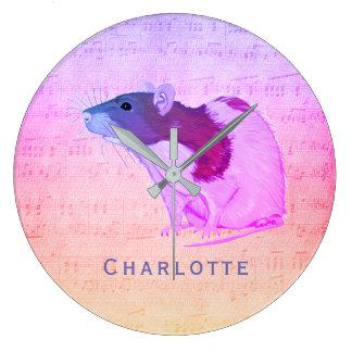 Pink Pet Rat Add Your Name Rat Large Clock
