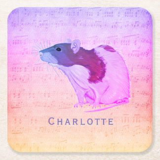 Pink Pet Rat Add Your Name Rat Square Paper Coaster
