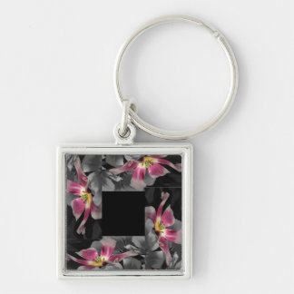 Pink Petal Patchwork Keyring Silver-Colored Square Keychain