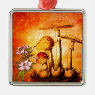 PINK PETALS AND ORANGE MUSHROOMS 2 Silver-Colored SQUARE ORNAMENT