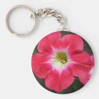 Pink Petunia Basic Round Button Keychain