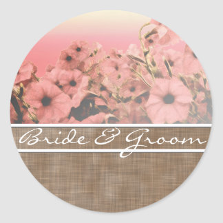 Pink Petunia On Brown Linen Stickers