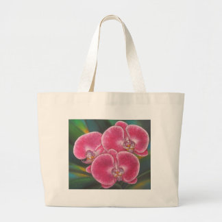 Pink Phalaenopsis Orchids Flowers Acrylic Painting Jumbo Tote Bag