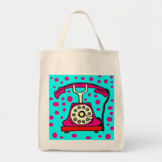 PINK PHONE WITH DOTS TOTE BAG