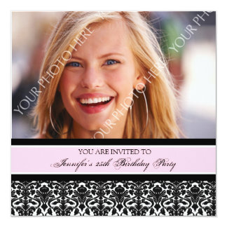 Pink Photo 25th Birthday Party Invitations