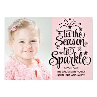 Pink Photo Christmas Card Season to Sparkle
