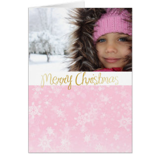 Pink Photo Christmas Card with Merry Christmas