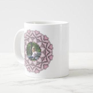 pink photo frame with hearts extra large mug