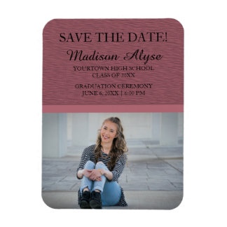 Pink Photo Graduation Save the Date Magnet