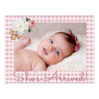 "Pink Photo ""She's Arrived""  Birth Announcement Postcard"