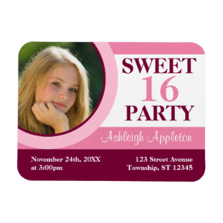 Pink Photo Sweet 16 Party Invitation Flat Magnet