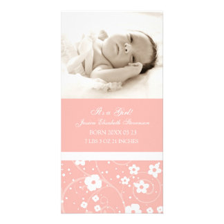 Pink Photo Template New Baby Birth Announcement