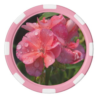 pink photograph of flowers poker chips