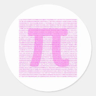 Pink PI 3 14 - science design Round Stickers