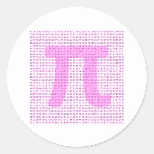Pink PI 3.14 - science design Round Stickers