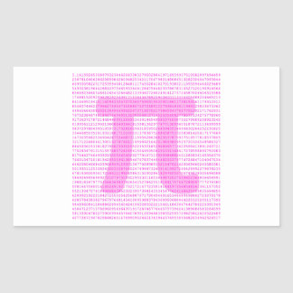 Pink PI 3 14 - science design Rectangle Stickers