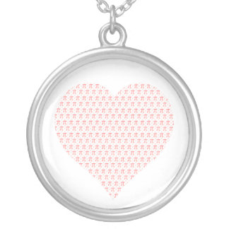 Pink Pi Heart Silver Plated Necklace