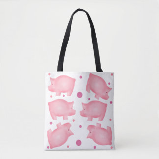 Pink Pig All Over Print Tote Bag