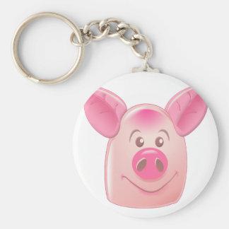 Pink Pig Basic Round Button Keychain