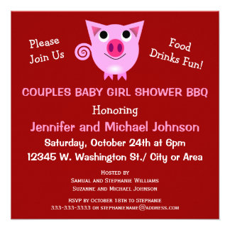 Pink Pig BBQ Couples Baby Shower Girl or Neutral Announcements