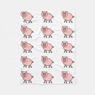 Pink Pig Cartoon Fleece Blanket