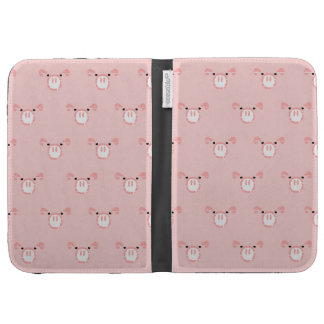 Pink Pig Face Pattern Kindle Folio Cases