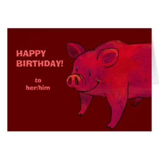 PInk Pig Greeting Card(customizable) Card