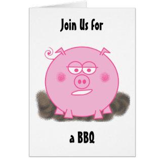 Pink Pig Invitation Cards
