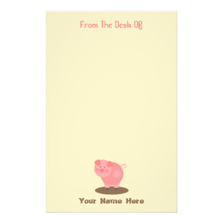 Pink Pig Mud Puddle Personalized Stationery