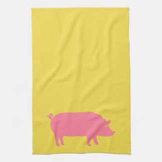 Pink Pig on Yellow Kitchen Towel