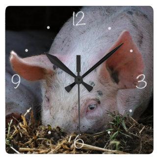 Pink pig photo square wall clock