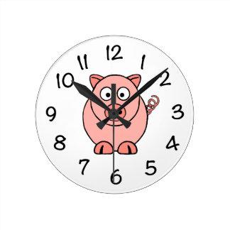 Pink Pig Round Clock