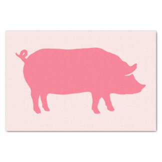 Pink Pig Silhouette Tissue Paper