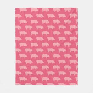 Pink Pig Silhouettes Pattern Fleece Blanket