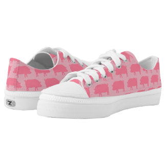 Pink Pig Silhouettes Pattern Low-Top Sneakers