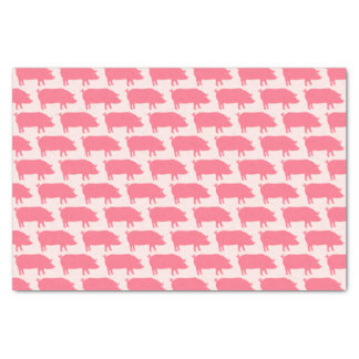 Pink Pig Silhouettes Pattern Tissue Paper
