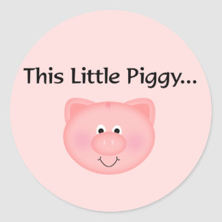 Pink Pig This Little Piggy Classic Round Sticker