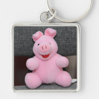 Pink pig toy Silver-Colored square keychain