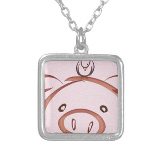 Pink pig with bird drawing silver plated necklace