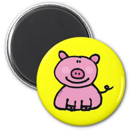 Pink piggy 2 inch round magnet