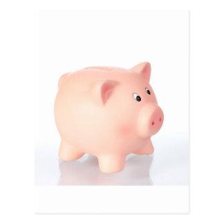 Pink piggy bank postcard