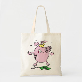 Pink Piggy Bank With Money Tote Bag