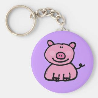 Pink piggy basic round button keychain