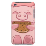 pink piggy eating cookie ipod case