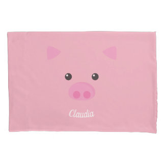 Pink Piggy Face Pillowcase