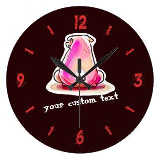 pink piggy funny cartoon large clock