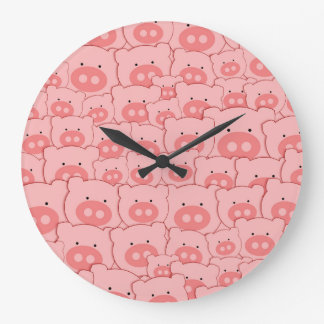 Pink Piggy Pigs Wallclock