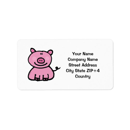 Pink piggy return address label