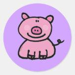 Pink piggy round sticker