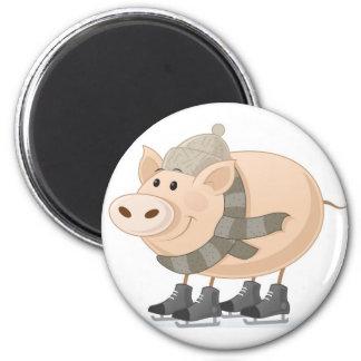 Pink Piggy Skating Magnet